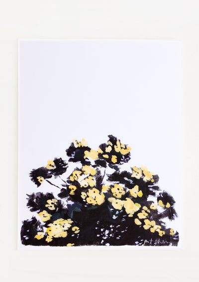 Art print featuring a silhouetted tree with yellow flowers against the sky