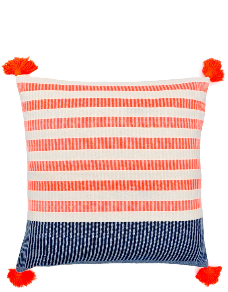 Tasseled Neon Stripe Pillow - LEIF