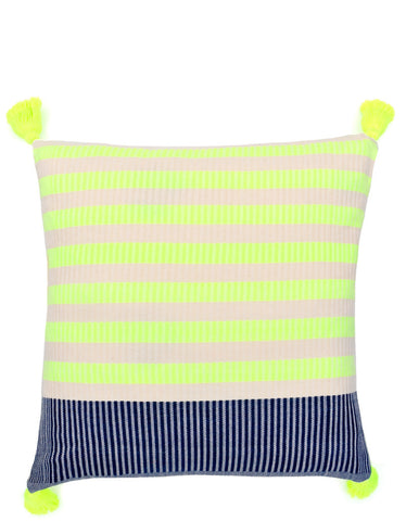 Tasseled Neon Stripe Pillow