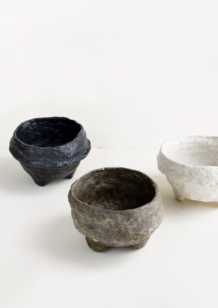 2: Small, decorative footed bowls made from paper mache in either white, black or brown