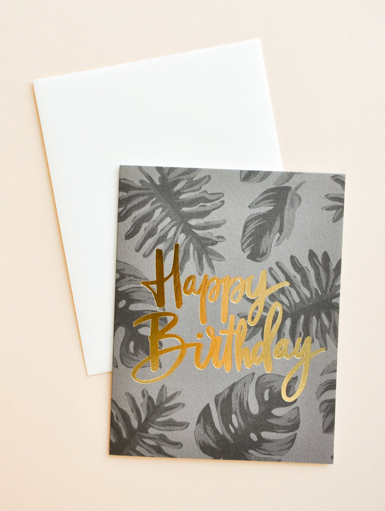 Dark Tropical Birthday Card