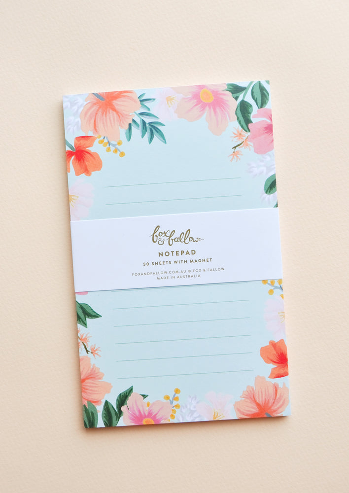 Small / Mint: Small notepad with lined mint green paper and floral decoration.