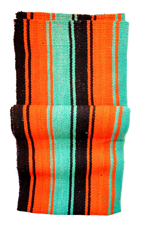 Bolivian Frazada Runner / Blanket, Black, Teal & Orange - LEIF