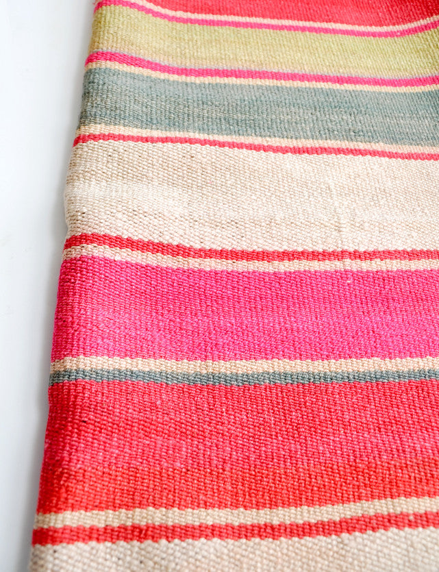 Bolivian Frazada Runner / Blanket, Red Multistripe