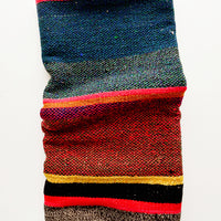 1: Vintage wool textile in striped pattern in a mix of blue, pink, black and yellow