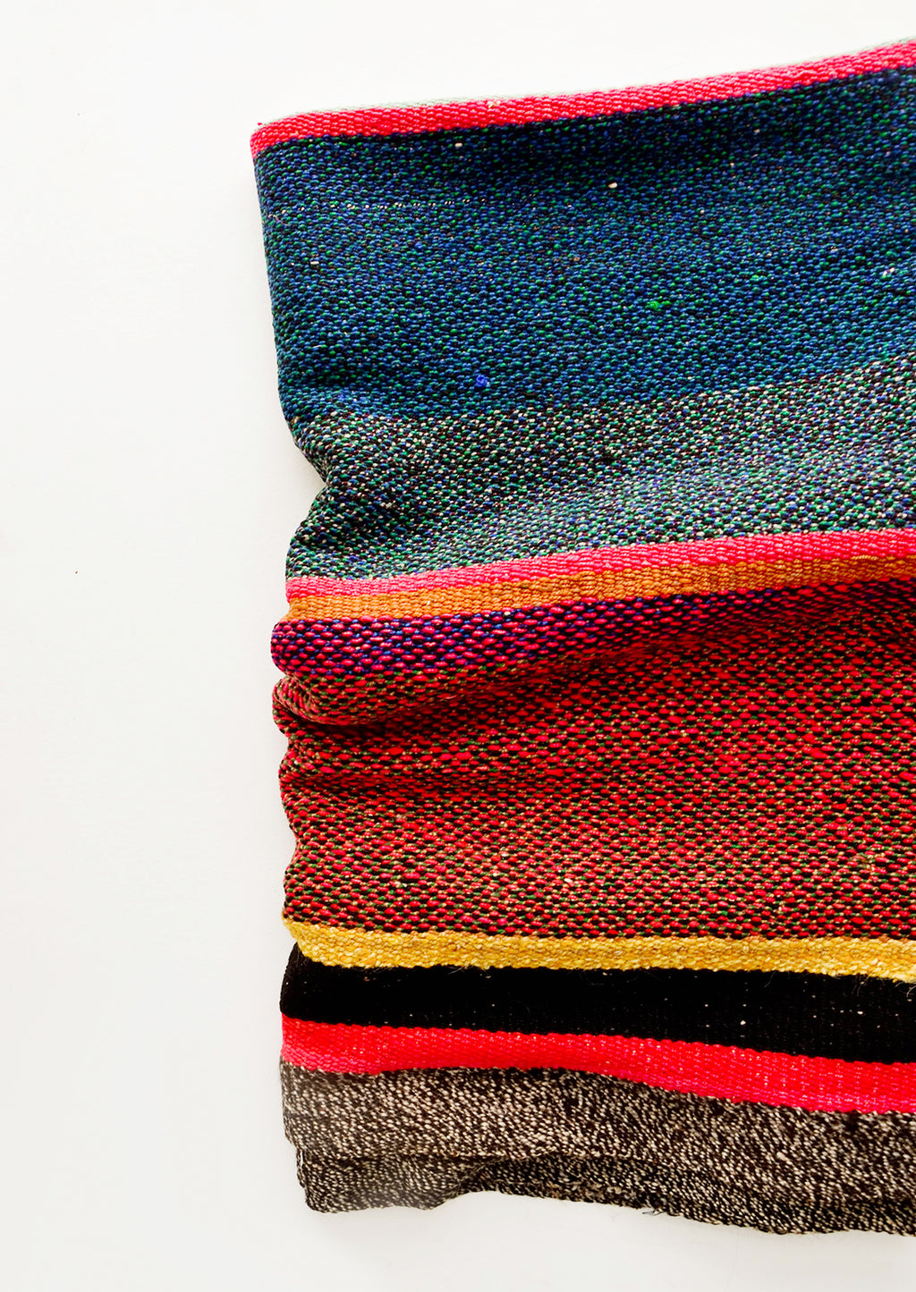 3: Vintage wool textile in striped pattern in a mix of blue, pink, black and yellow