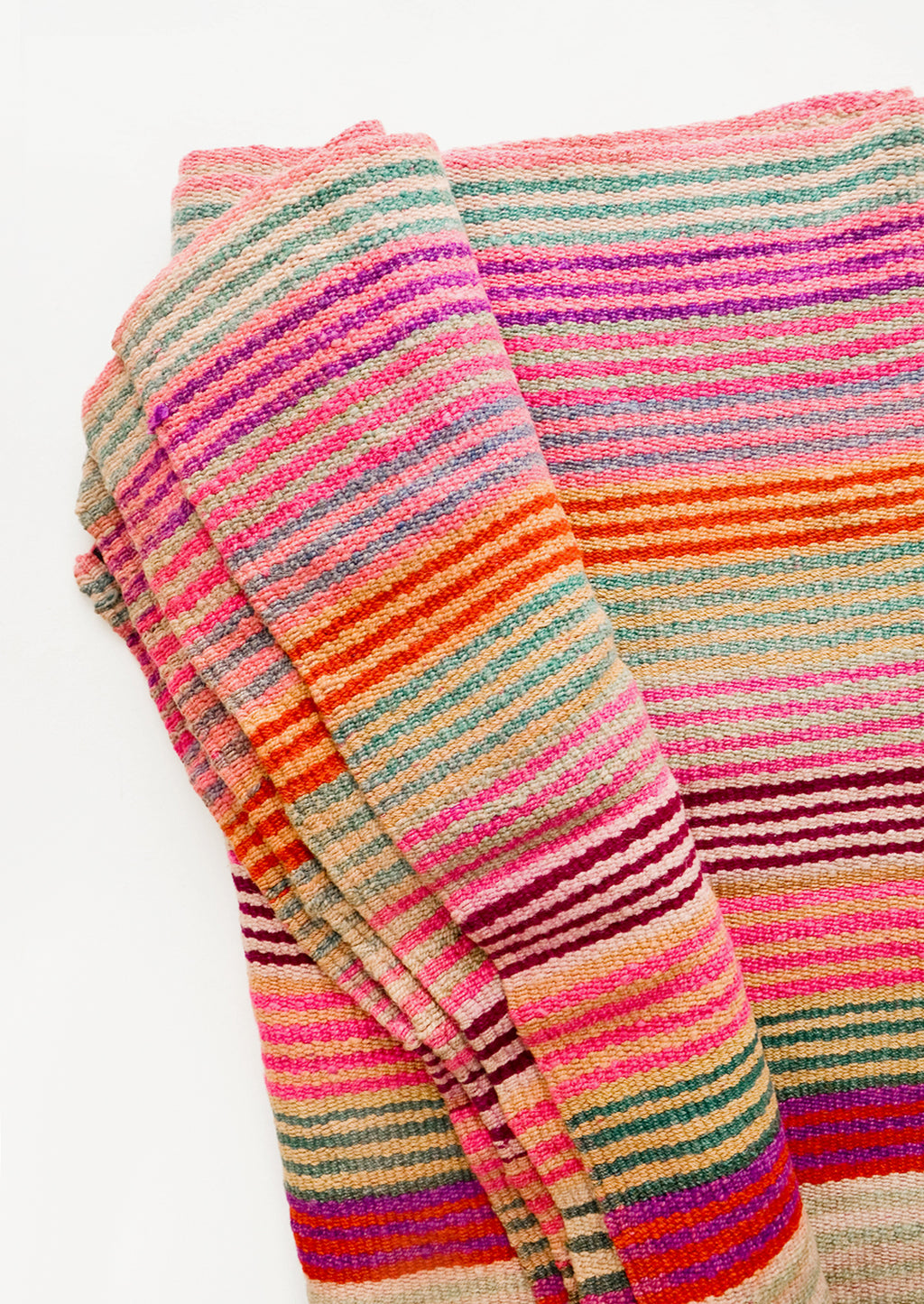 1: Vintage wool textile in thin, brightly multi-colored striped pattern