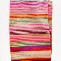2: Vintage wool textile in thin, brightly multi-colored striped pattern