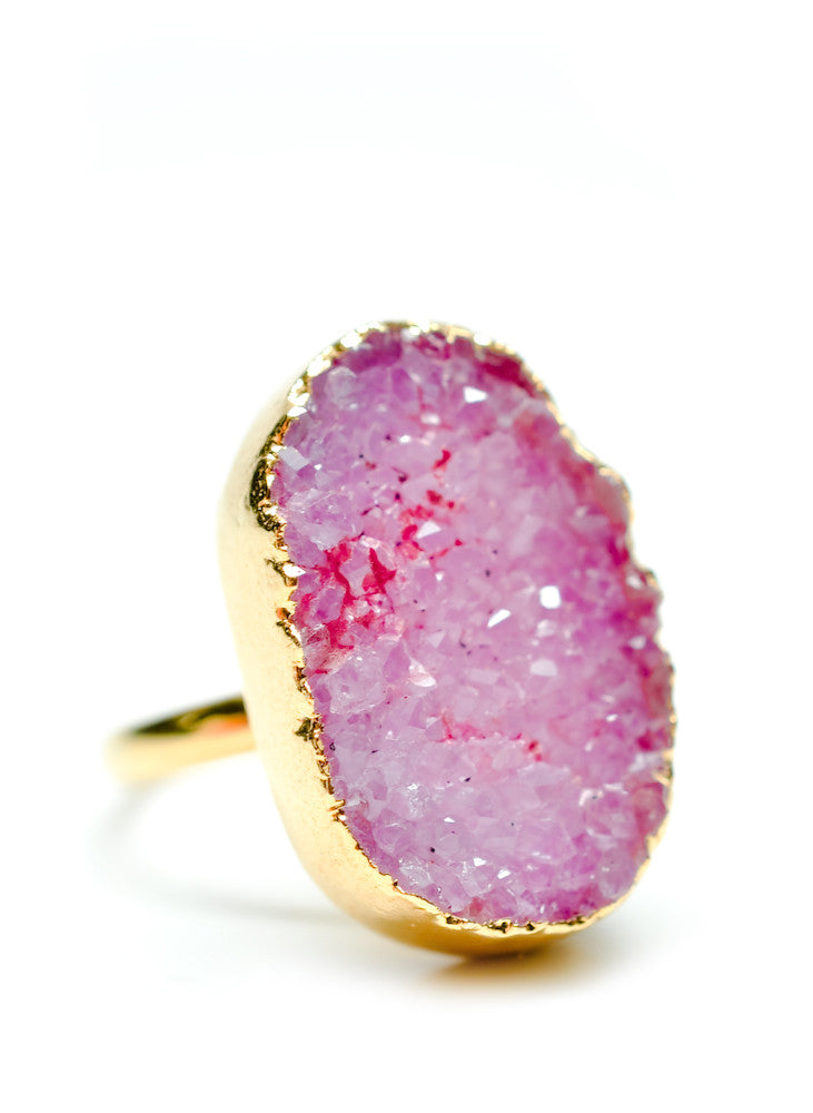 Freeform Drusy Ring in Fuchsia - LEIF