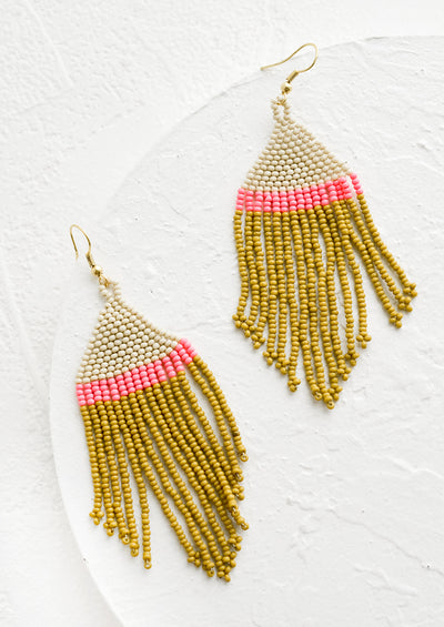 A pair of fringe beaded earrings with colorblock design in ivory, hot pink and chartreuse.