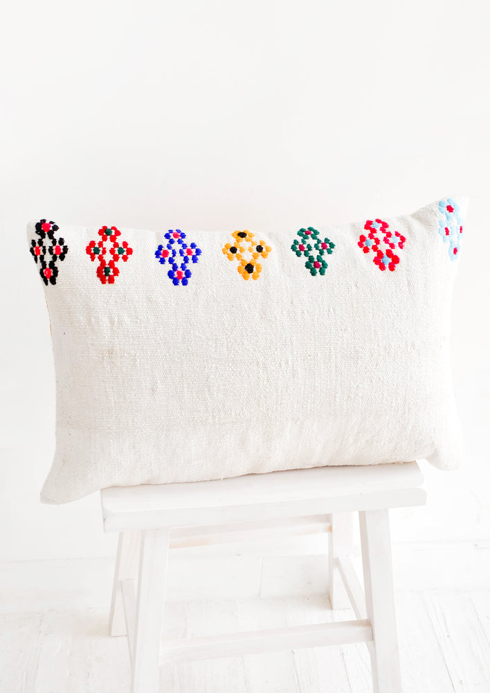 2: Frida Embroidered Kilim Pillow in  - LEIF
