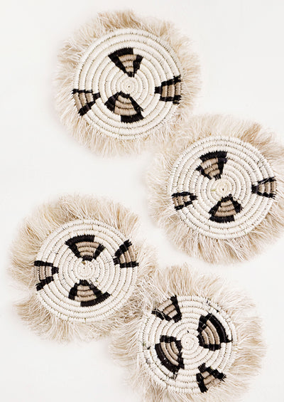 Fringed Raffia Coaster Set in Leopard