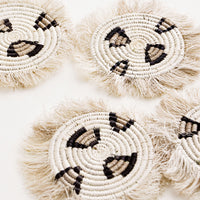 2: Fringed Raffia Coaster Set in Leopard in  - LEIF