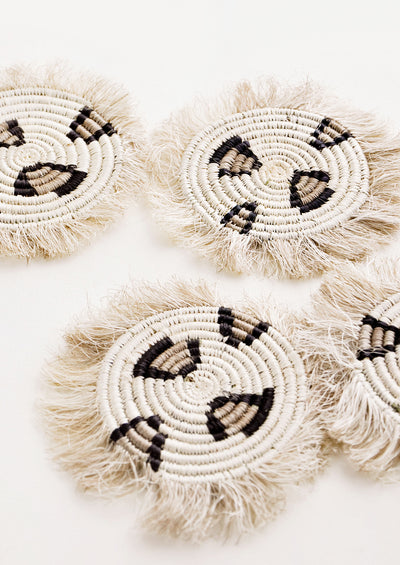 Fringed Raffia Coaster Set in Leopard hover