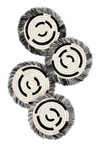 Fringed Sweetgrass Coaster Set