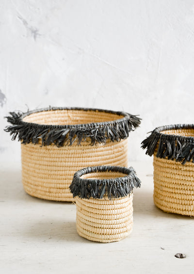 Fringed Raffia Catchall Basket