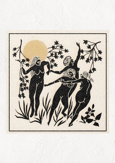Art print with primitive image of naked women with greenery and sun.