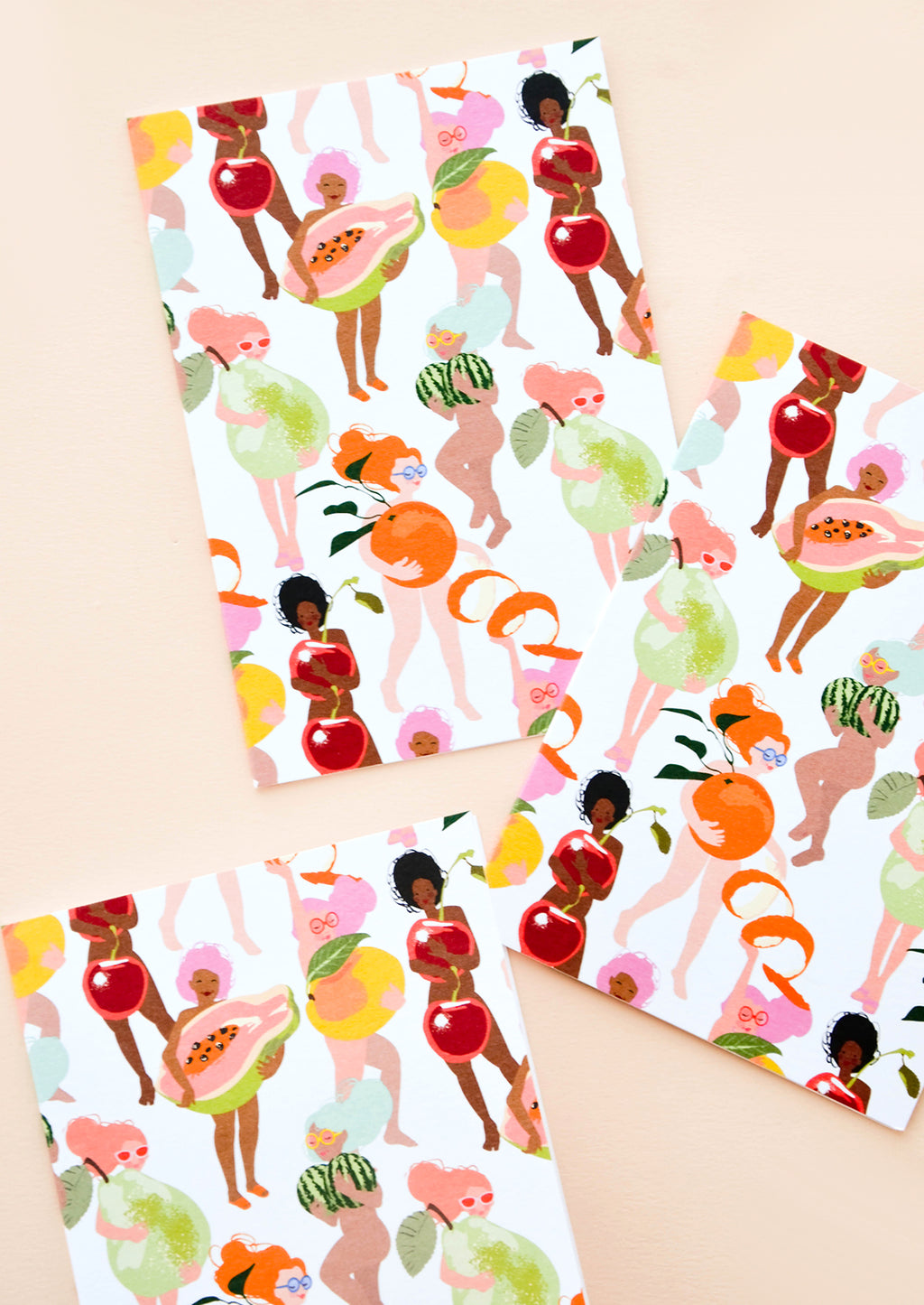 3: Set of cards featuring illustrated people of all skin colors, covering themselves with fruit.
