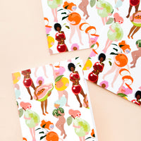 1: Set of cards featuring illustrated people of all skin colors, covering themselves with fruit.