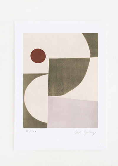An abstract art print featuring a geometric composition in grey, lilac, cream and rust.