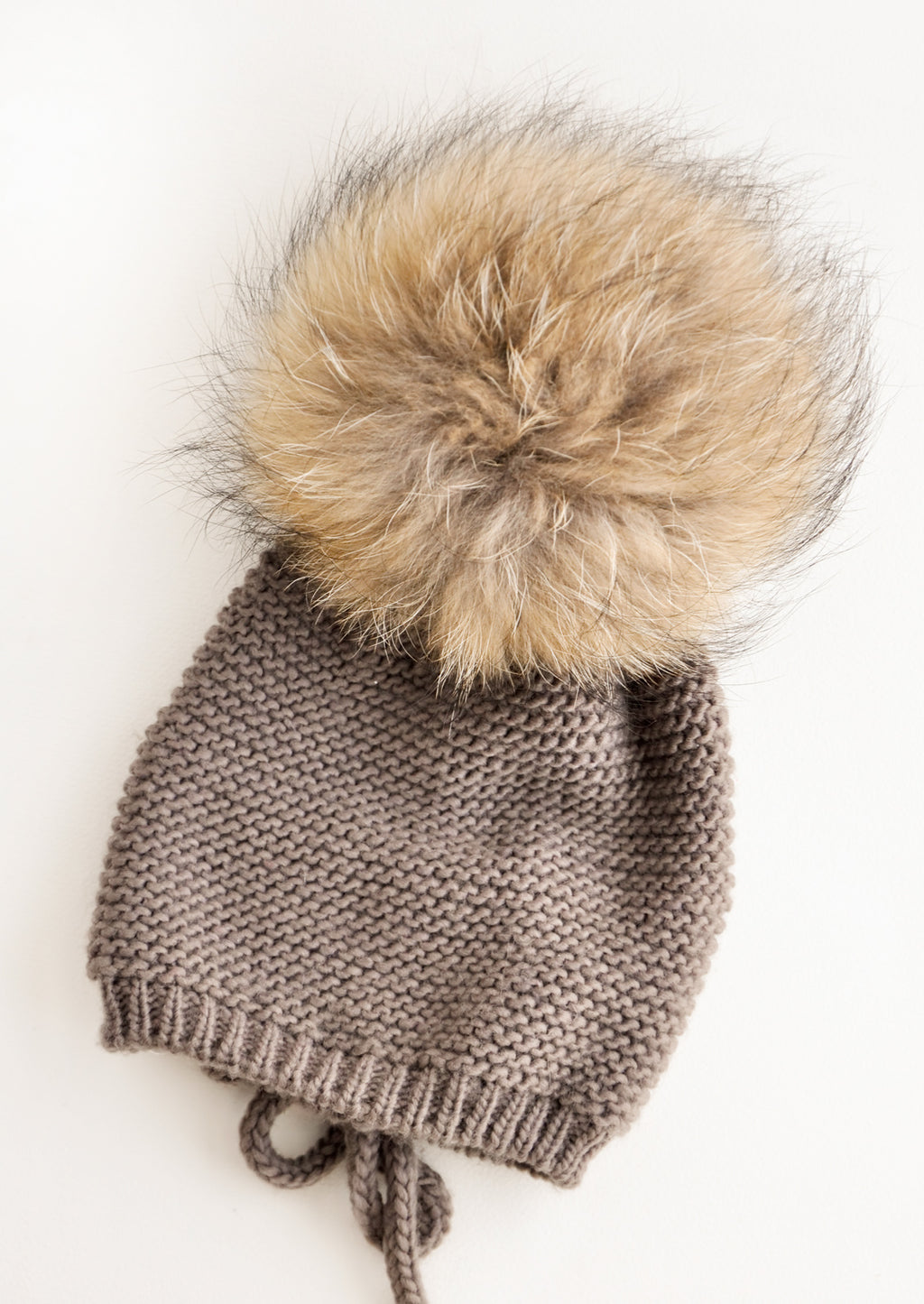 Brown / Natural: Big Fur Pom Beanie in Brown / Natural - LEIF