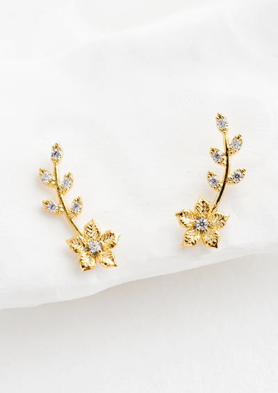 Gardenia Climber Stud Earrings