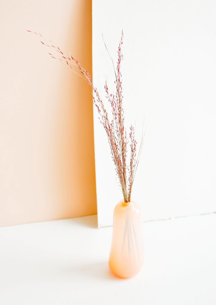 Tall / Peach: Small bud vase in translucent peach glass, in a tall and skinny shape displayed with decorative pink grass