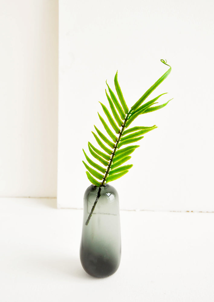 Tall / Shadow: Small bud vase in translucent black glass, in a tall and skinny shape, displayed with a single fern frond