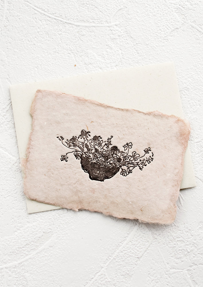 2: A greeting card made from handmade paper with a letterpress printed image of flowers in a bowl.