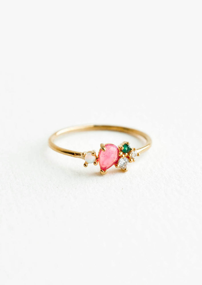Pink Multi / Size 6: Gold ring featuring slim band with two gemstones and two crystals in pink, green and white hues, prong set in a cluster.