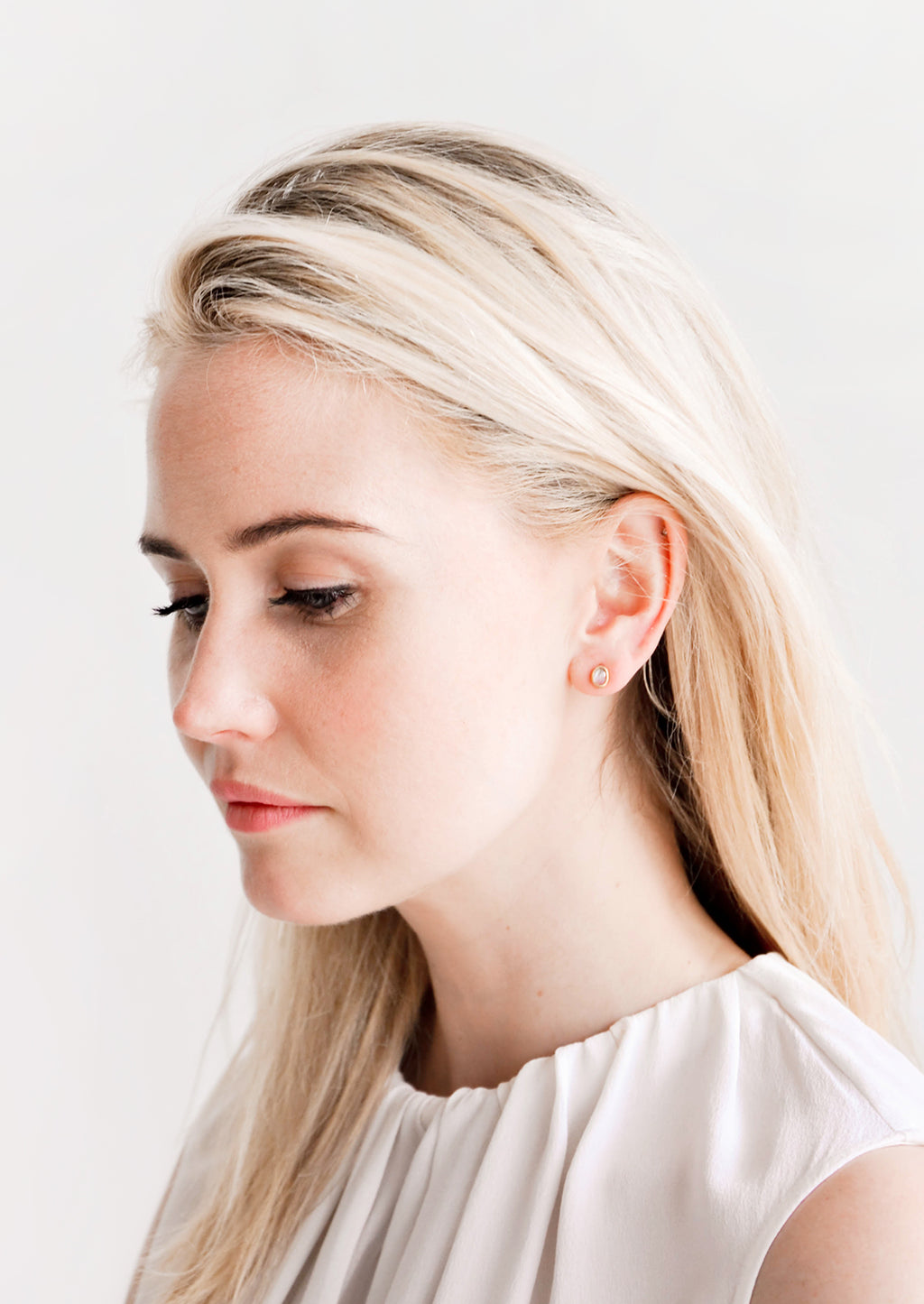 2: Gemma Moonstone Stud Earrings in  - LEIF