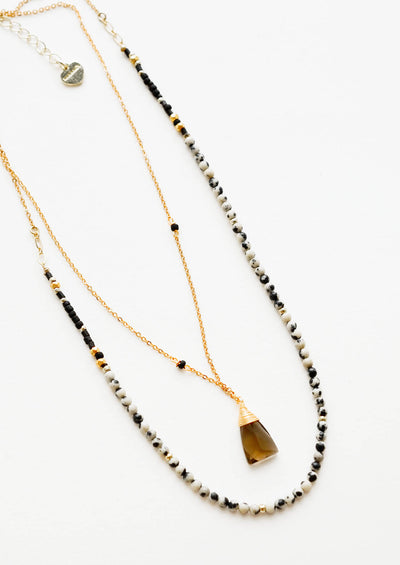 Gemstone Pendulum Layered Necklace