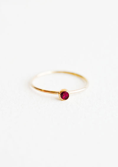 Gemstone Bezel Ring in Garnet / Size 5 - LEIF