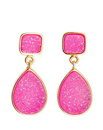 Double Shape Drusy Drop Earrings - LEIF