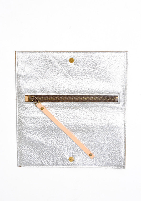Geo Metallic Leather Wristlet - LEIF