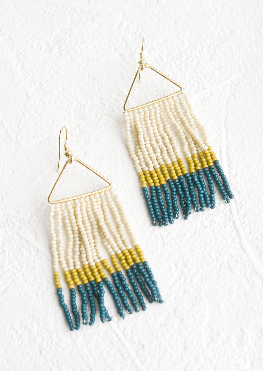 Citron / Teal Multi: Beaded earrings with triangular metal frame and fringed beads below