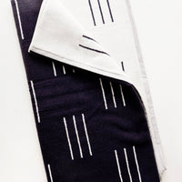 Charcoal Dash / Hand Towel: Terrycloth towel in jacquard design, charcoal with white line print