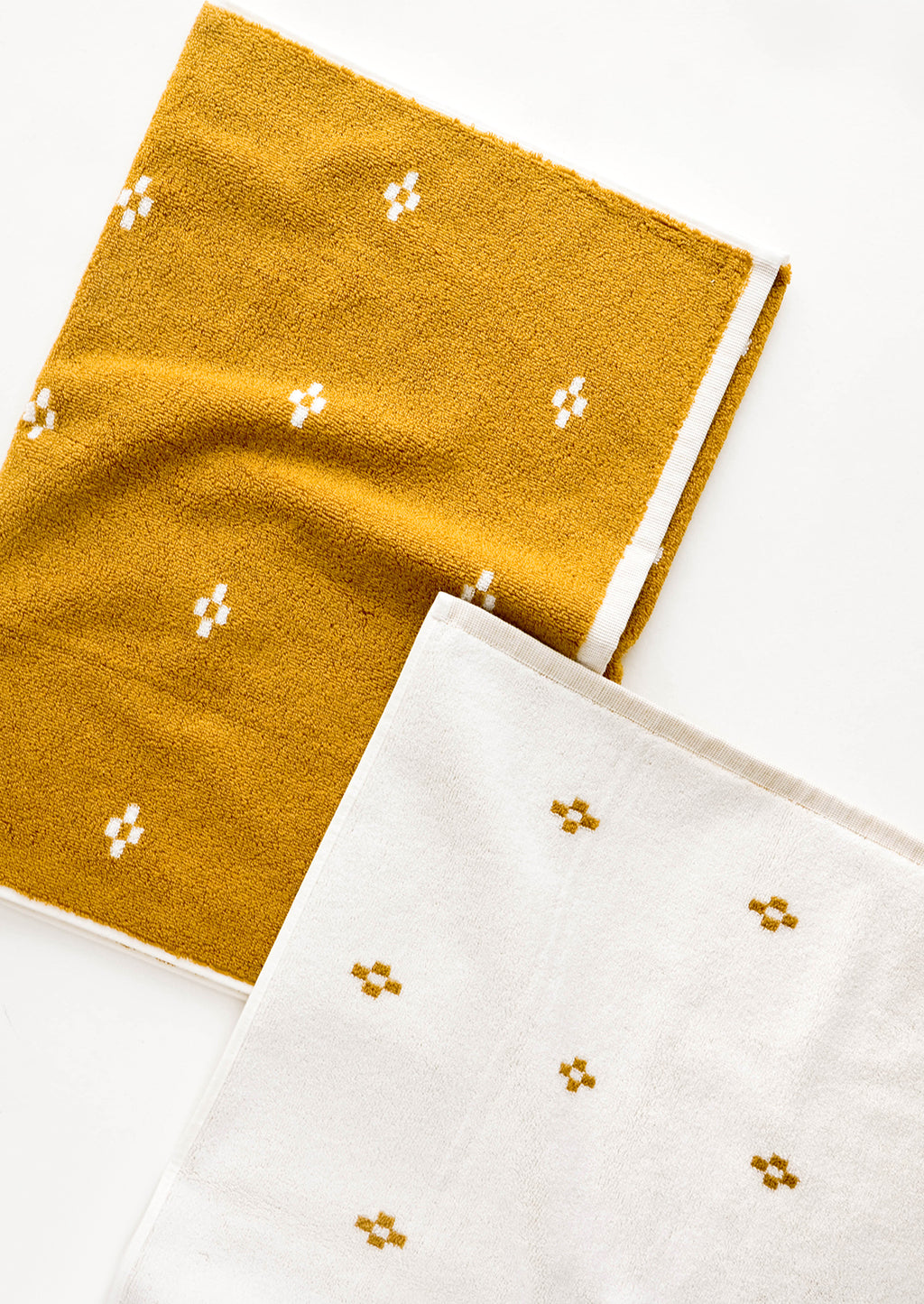 Ochre Geo / Bath Towel: Terrycloth towel set in jacquard design, mustard with geometric print