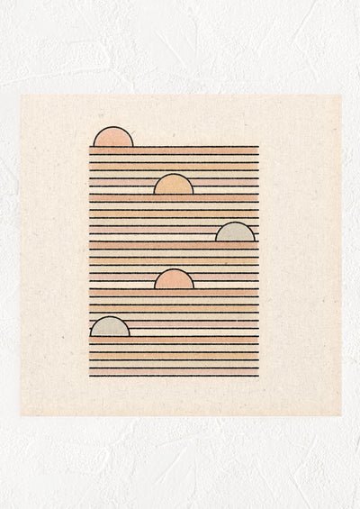 Square digital art print with pastel imagery of suns rising along horizontal lines.