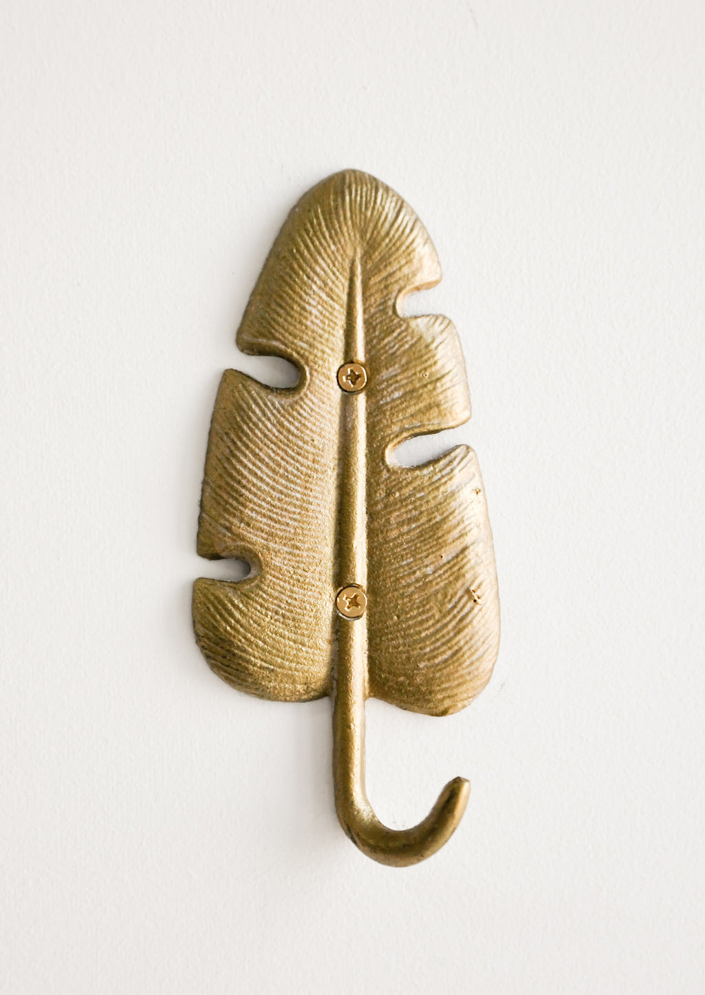 Banana Leaf: Gilded Leaf Wall Hook in Banana Leaf - LEIF