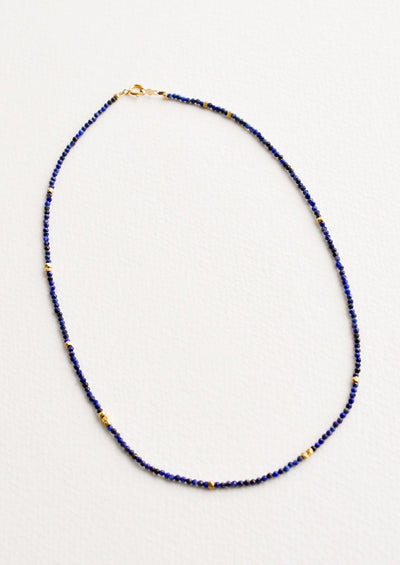 Glinting Gem Beaded Necklace in Lapis - LEIF