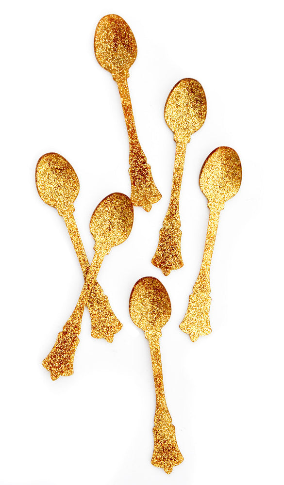 Gold Glitter: Glitter Teaspoon Set in Gold Glitter - LEIF