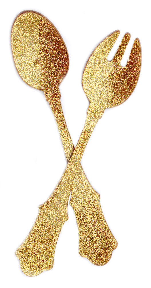 Gold Glitter: Glitter Serving Set in Gold Glitter - LEIF