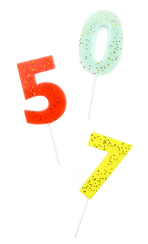 Glittered Number Party Candles