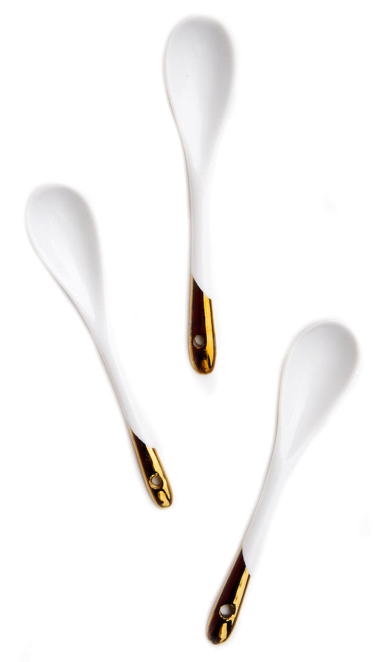 Gold Dipped Porcelain Spoon Set - LEIF
