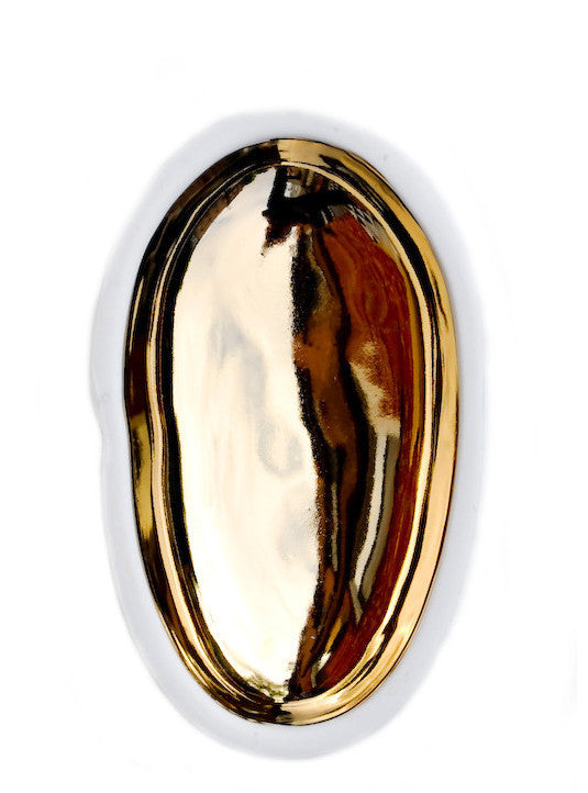 Gold Glazed Porcelain Pebble Dish - LEIF