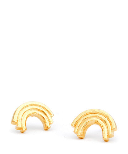 Golden Rainbow Stud Earrings