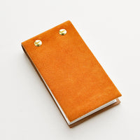 Mustard Suede: Small brown suede notepad with brass grommets.