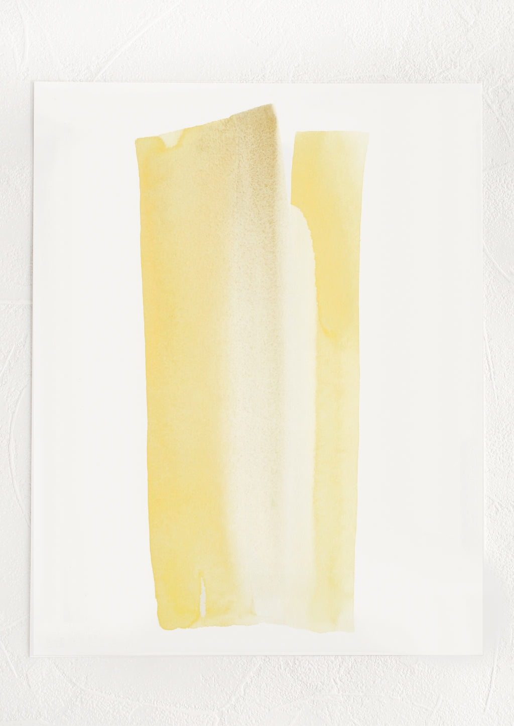 1: An art print with streak-like watercolor form in shades of yellow.