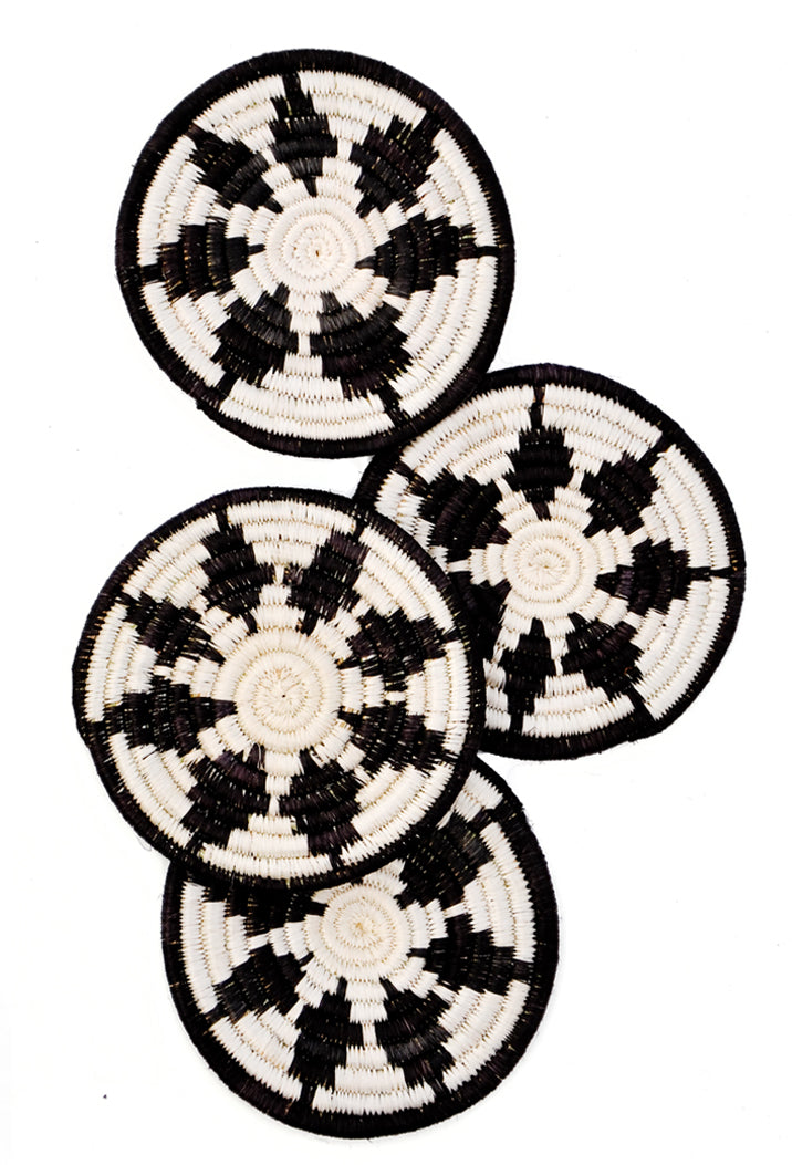 Black / Natural: Great Plains Coaster Set in Black / Natural - LEIF